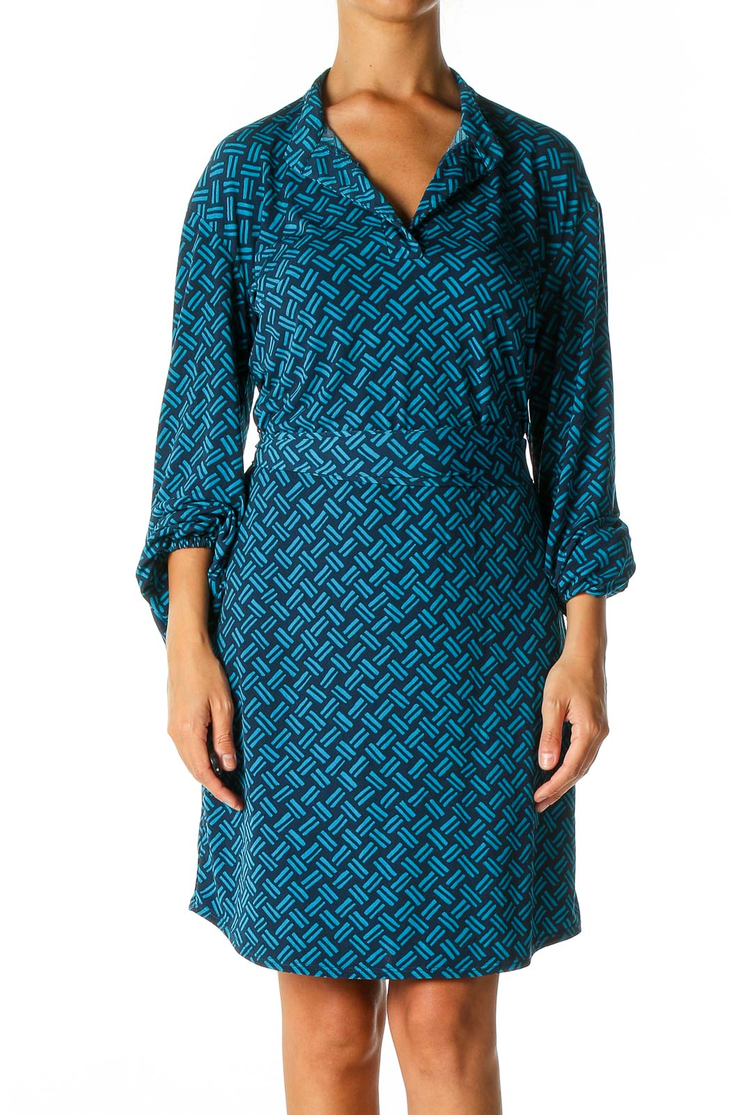 Blue Chevron Holiday Fit & Flare Dress Front