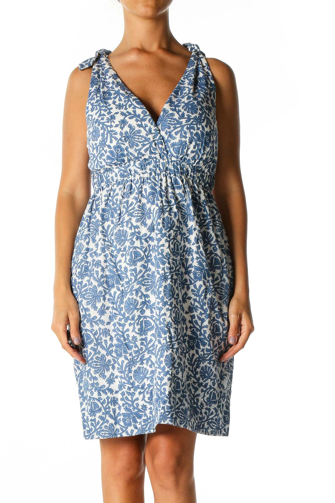 Blue Floral Print Holiday A-Line Dress Front