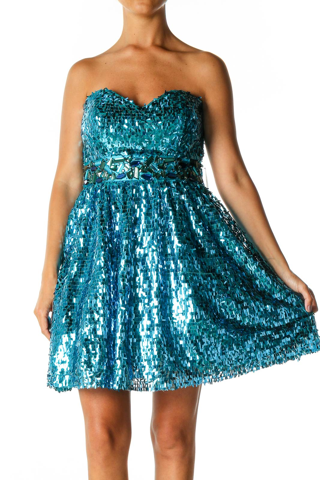 Blue Sequin Cocktail Fit & Flare Dress Front