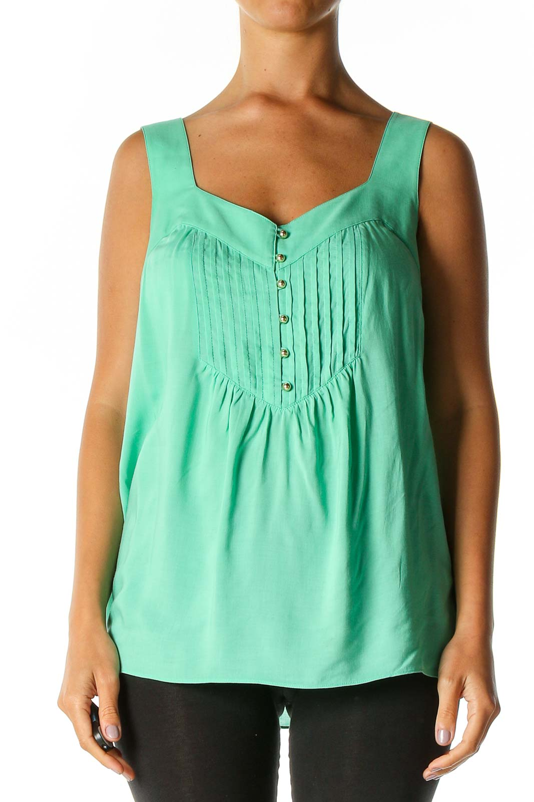 Green Solid Retro Tank Top Front