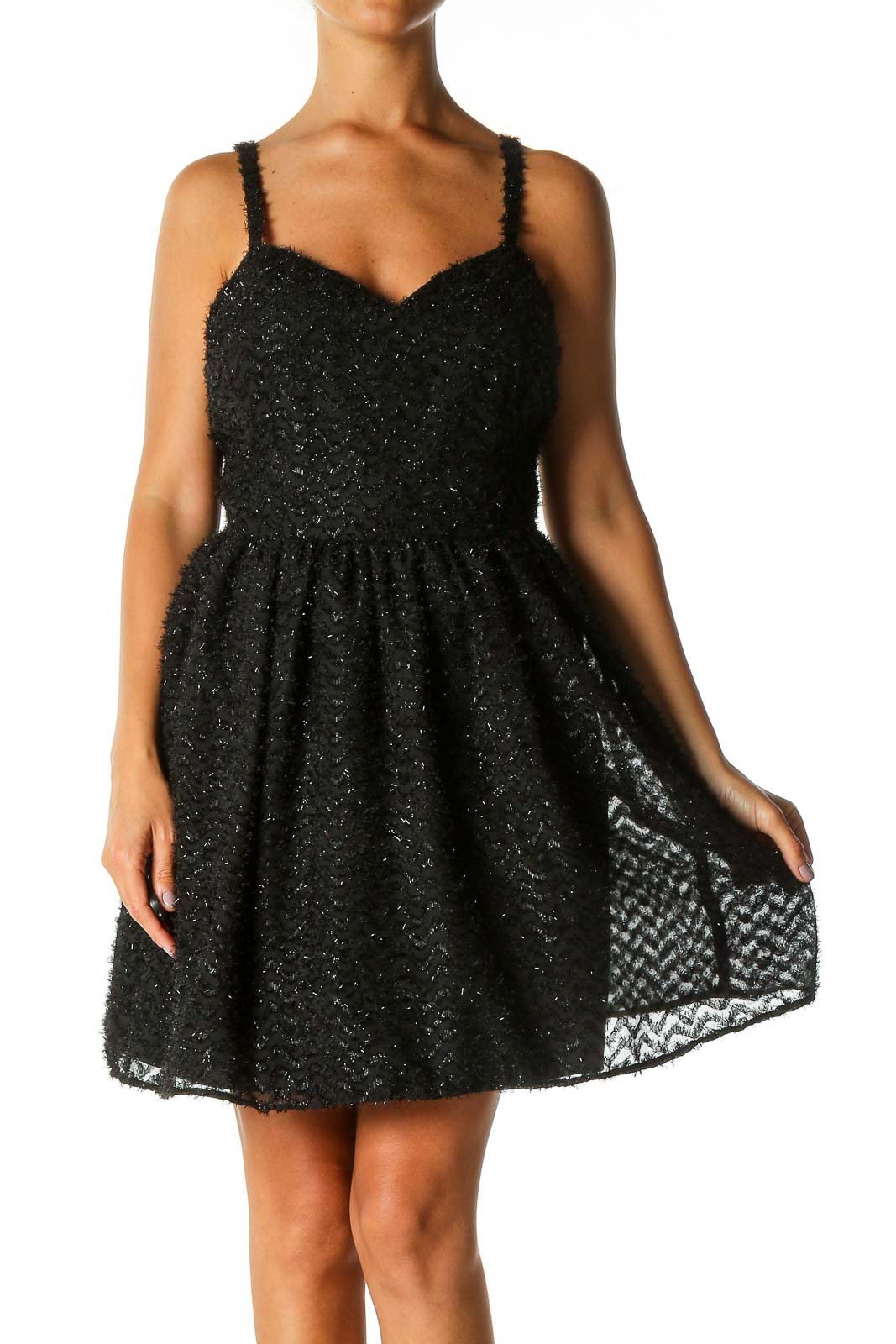 Black Textured Cocktail Fit & Flare Dress Front