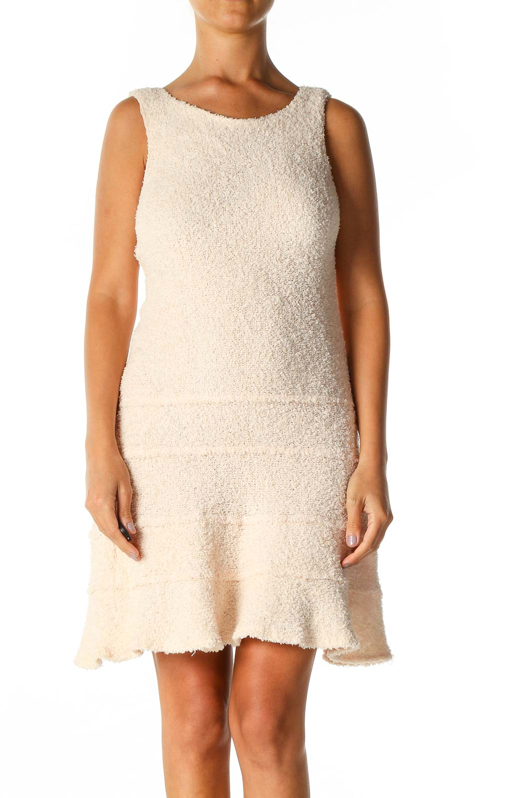 Pink Textured Casual A-Line Dress Front