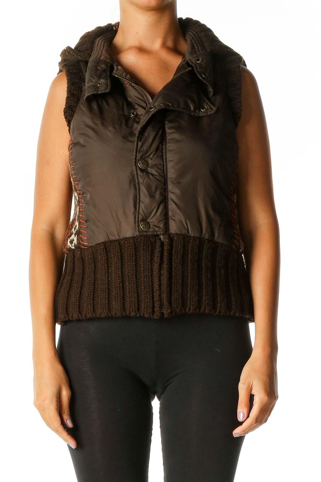 Brown Vest Jacket Front