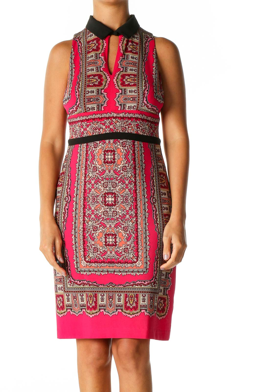 Pink Geometric Print Bohemian Sheath Dress Front