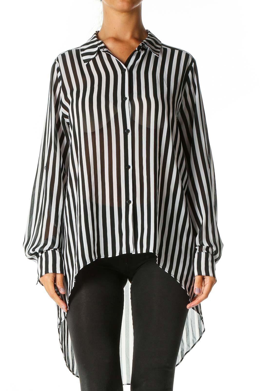 Black Striped Formal Shirt Front