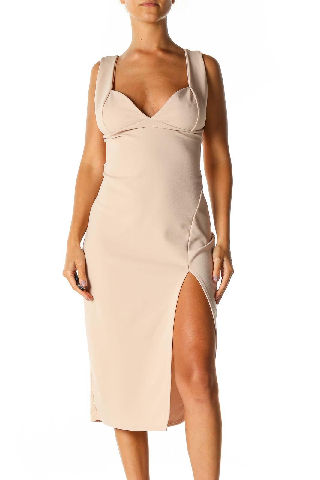 Beige Solid Sheath Dress Front