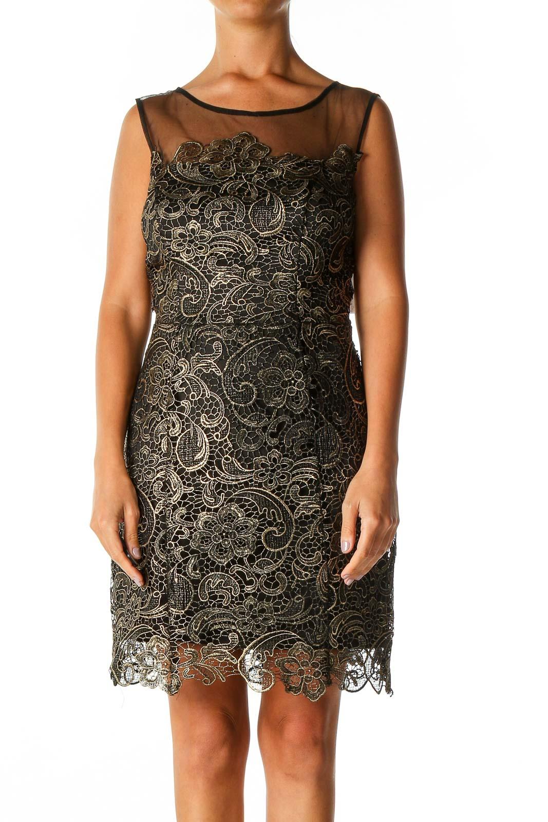 Black Lace Casual A-Line Dress Front