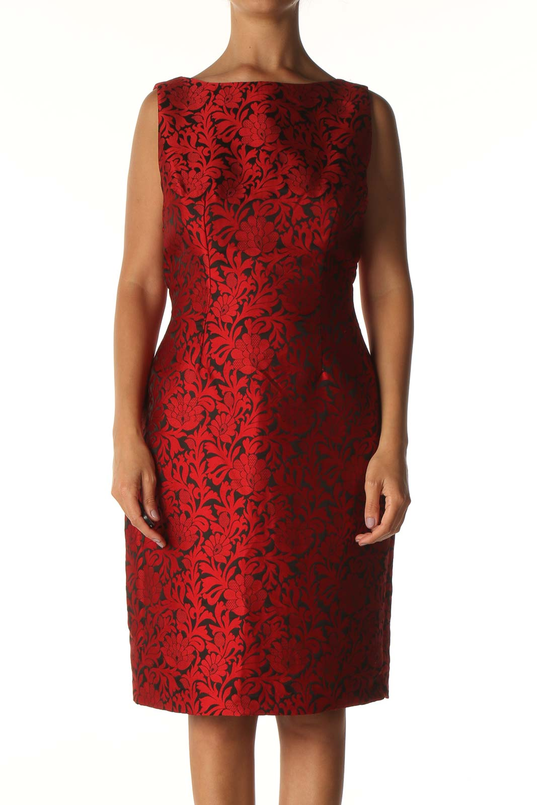Red Textured Day Sheath Dress Front