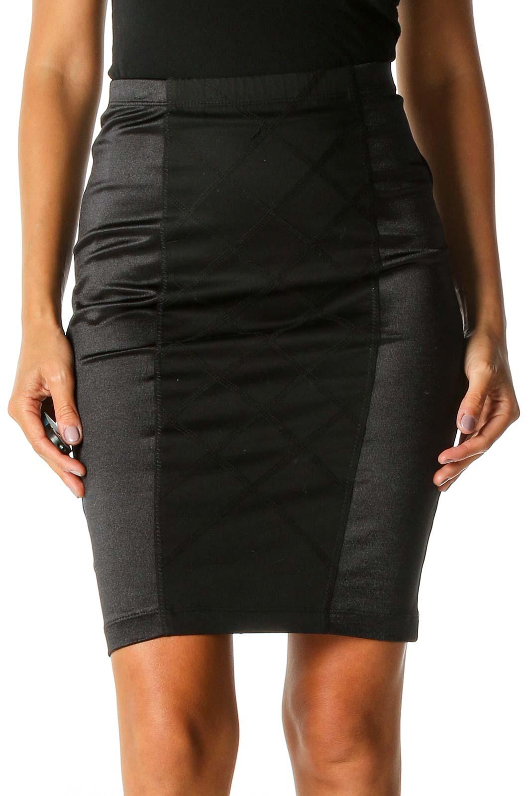 Black Solid Brunch Pencil Skirt Front