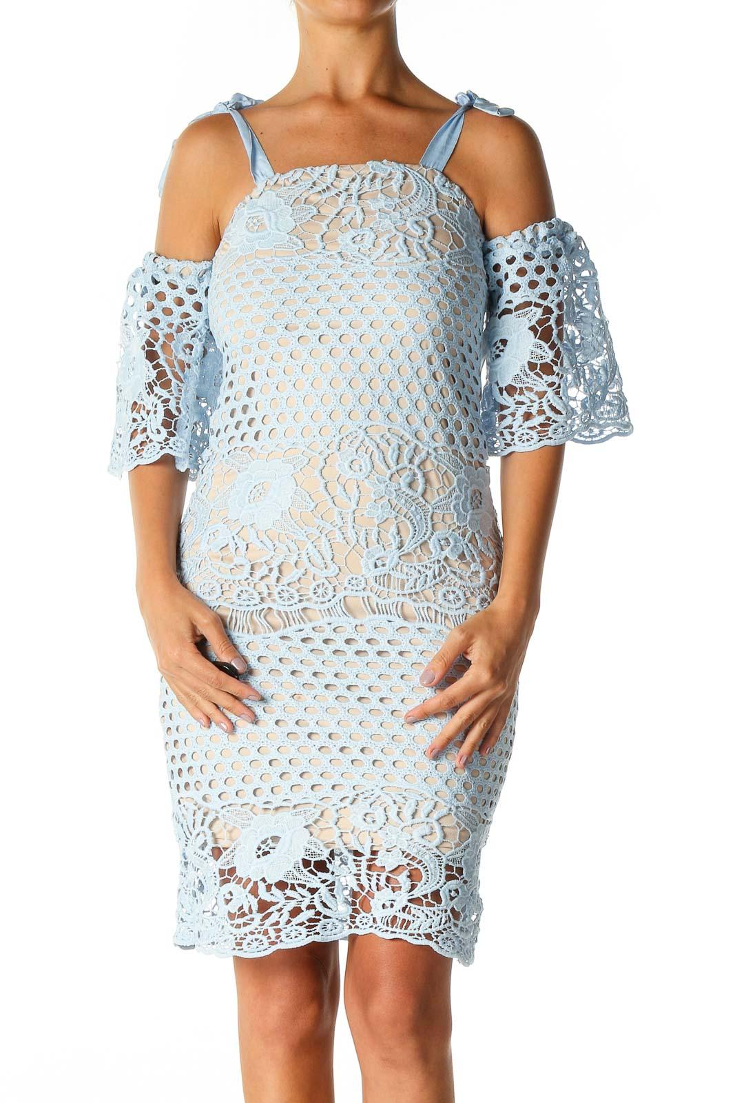 Blue Lace Bohemian Sheath Dress Front