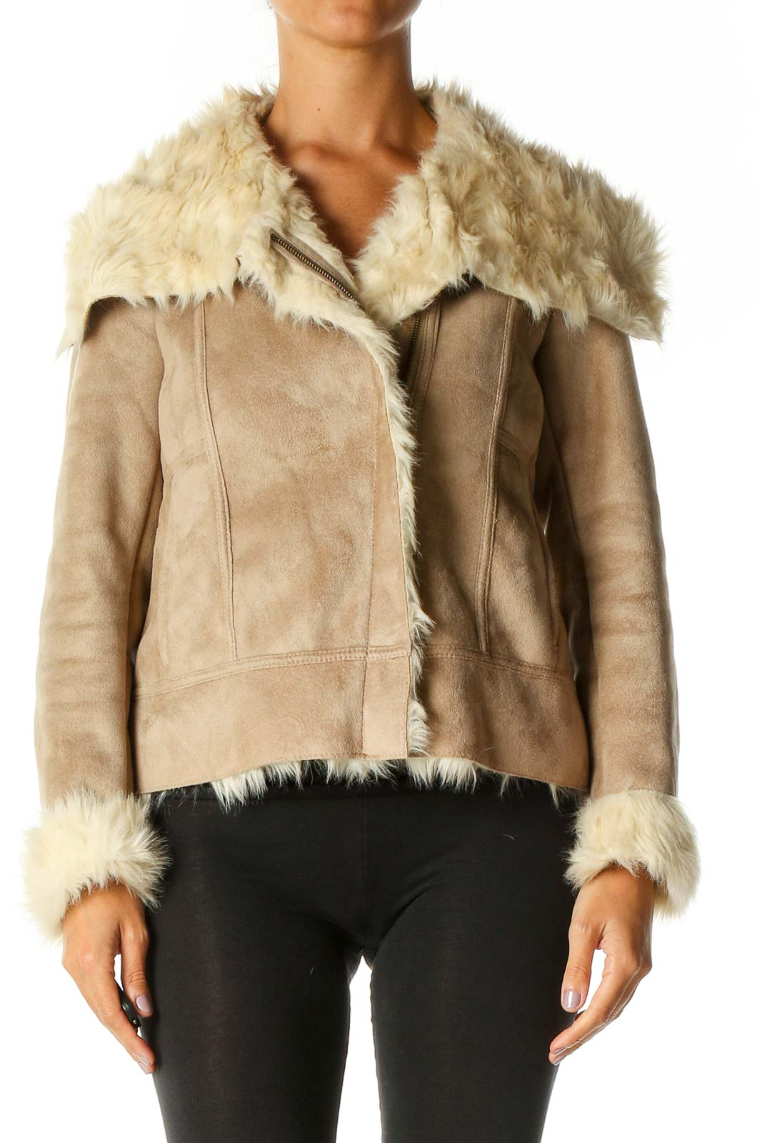 Beige Shearling Jacket Front