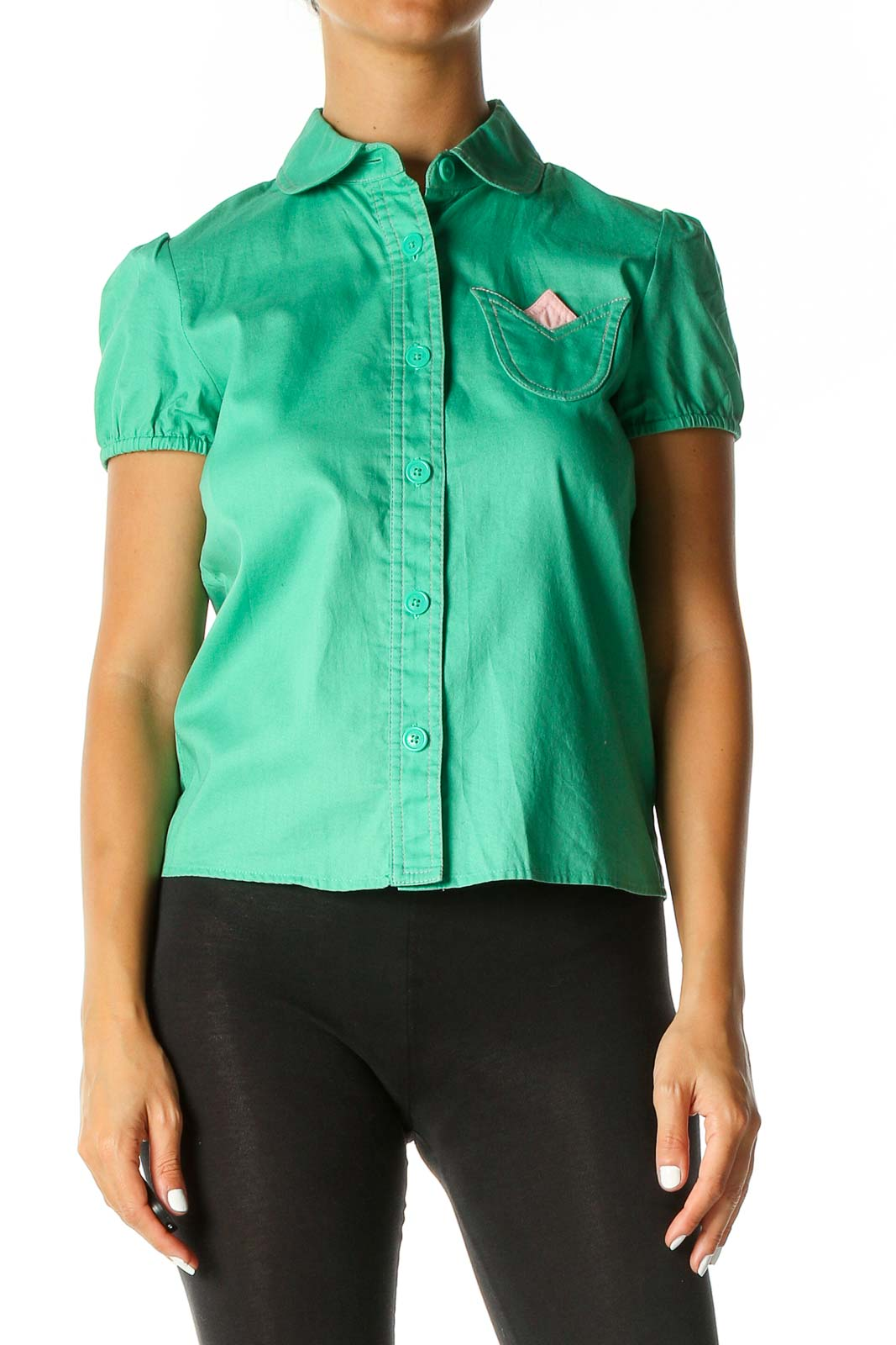 Green Solid Shirt Front