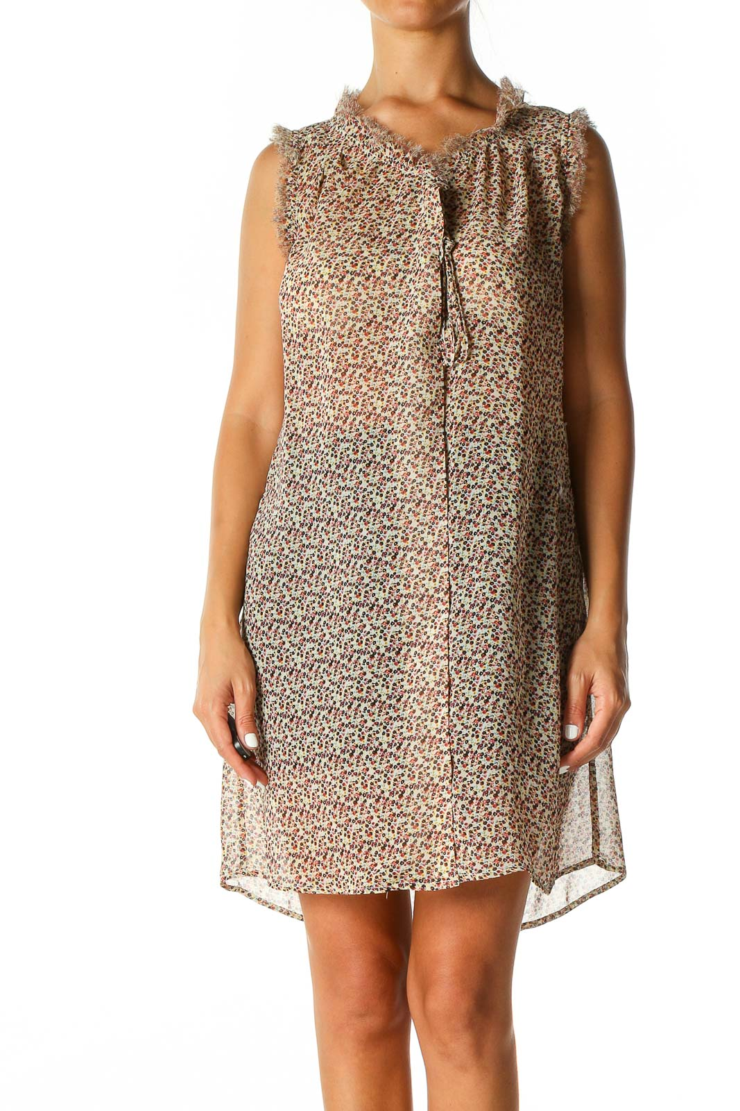 Beige Object Print Chic A-Line Dress Front