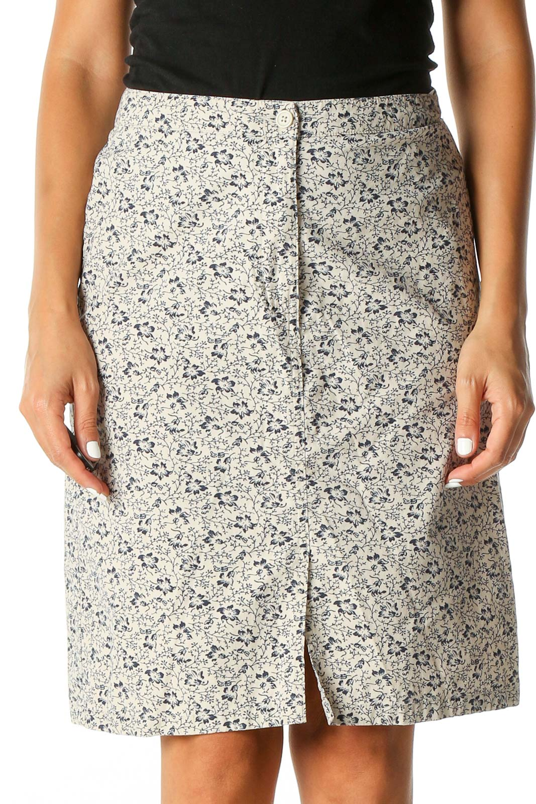 Beige Printed All Day Wear A-Line Skirt Front