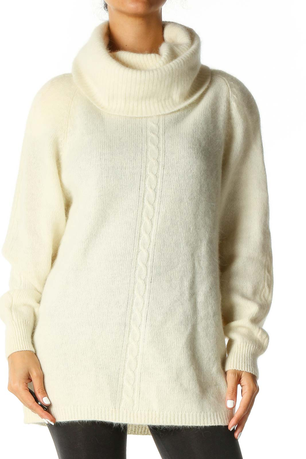 Beige Solid Casual Sweater Front