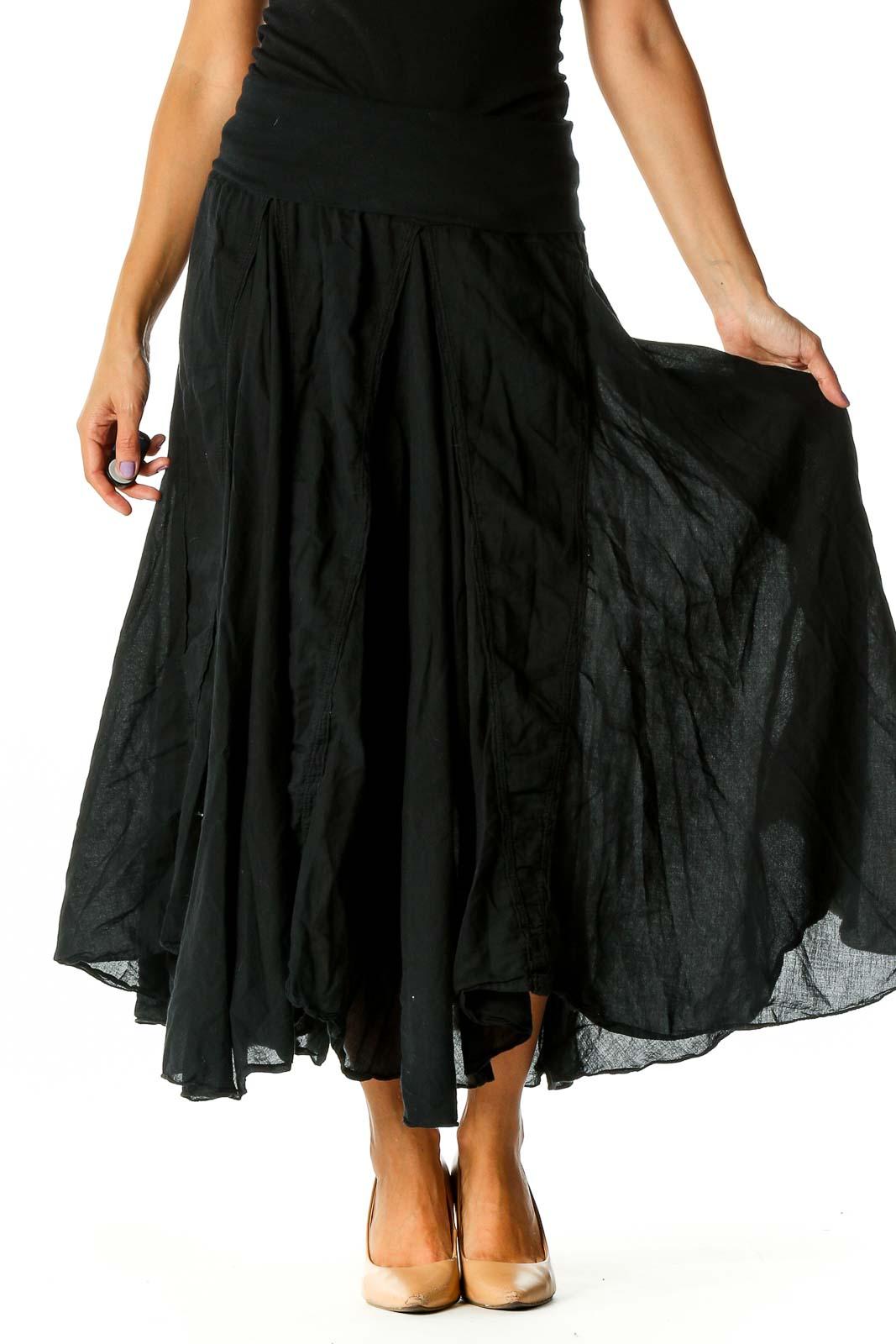 Black Retro Flared Skirt Front