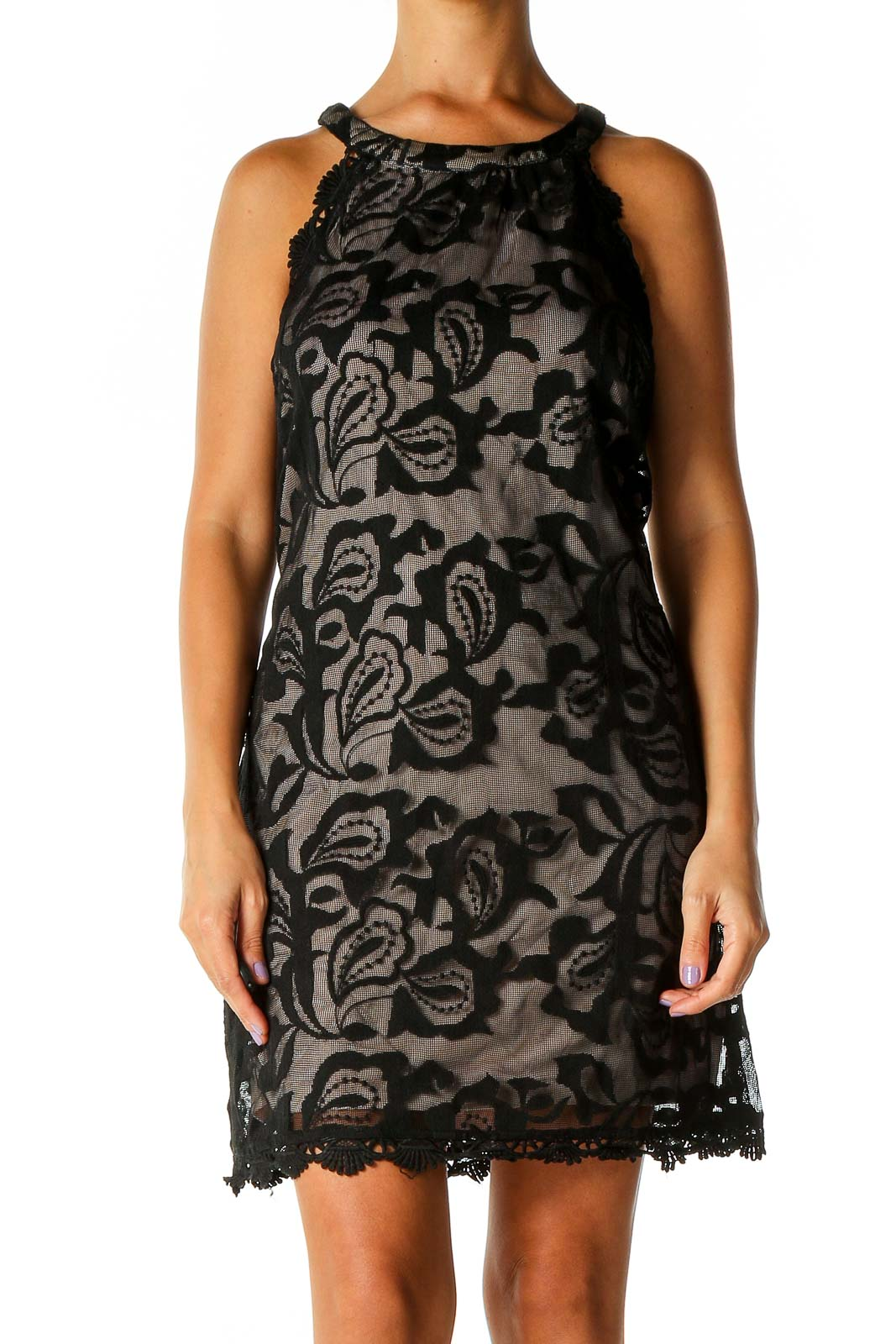 Black Lace Bohemian A-Line Dress Front