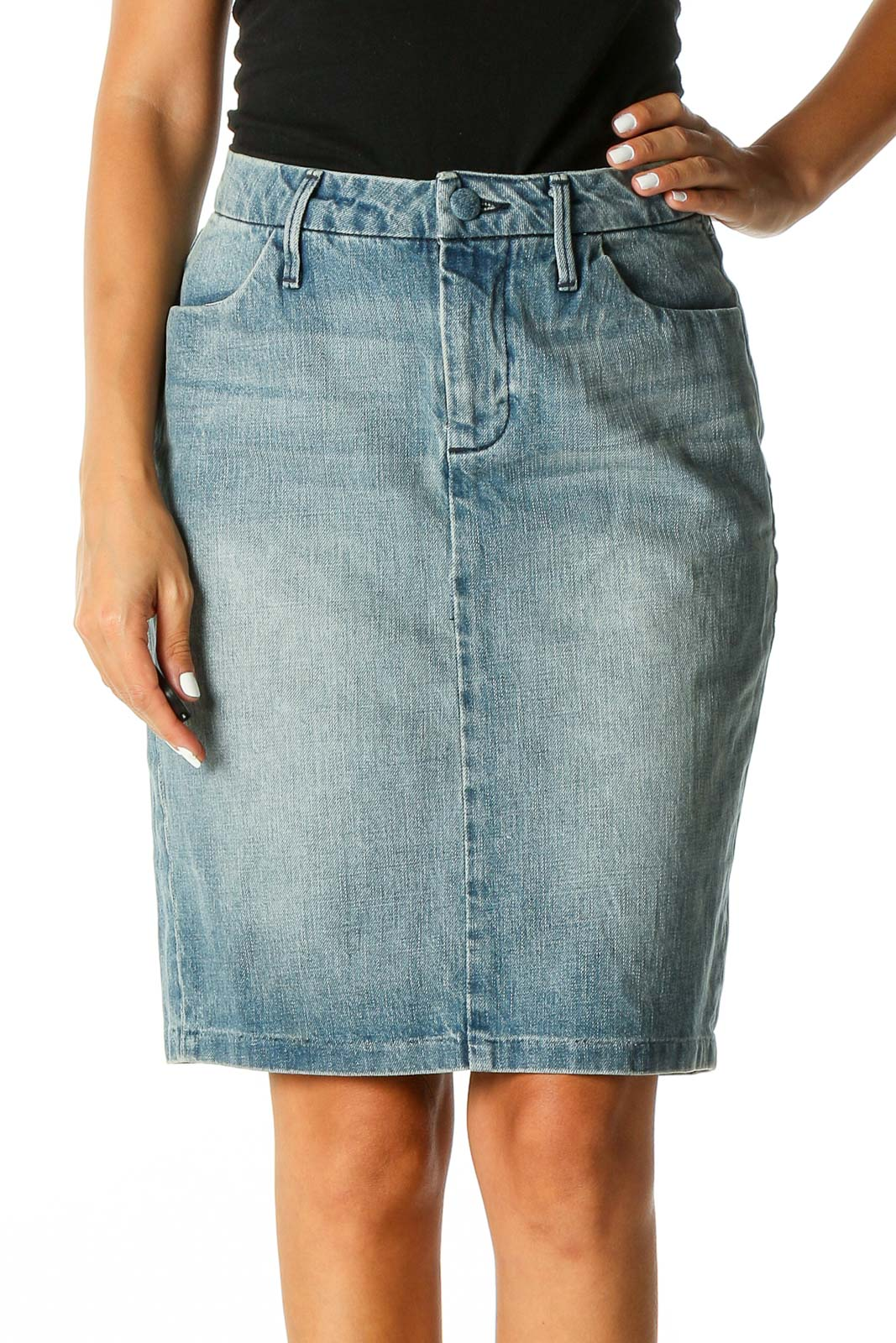 Blue Solid Casual Pencil Skirt Front