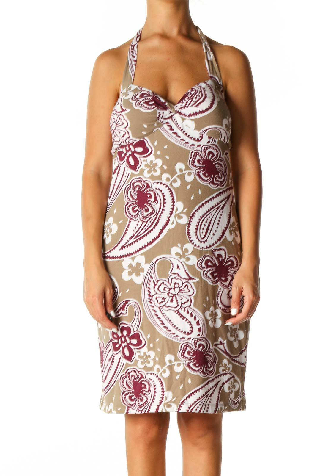 Brown Paisley Holiday A-Line Dress Front