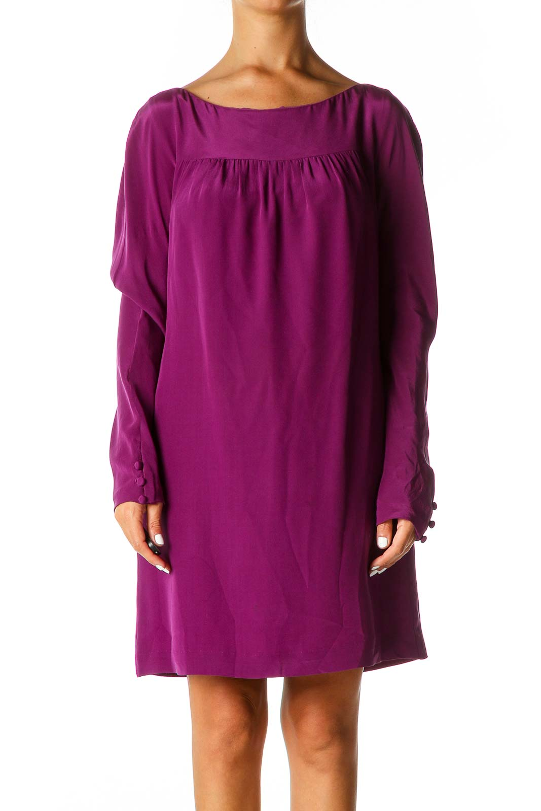 Purple Solid Chic Shift Dress Front