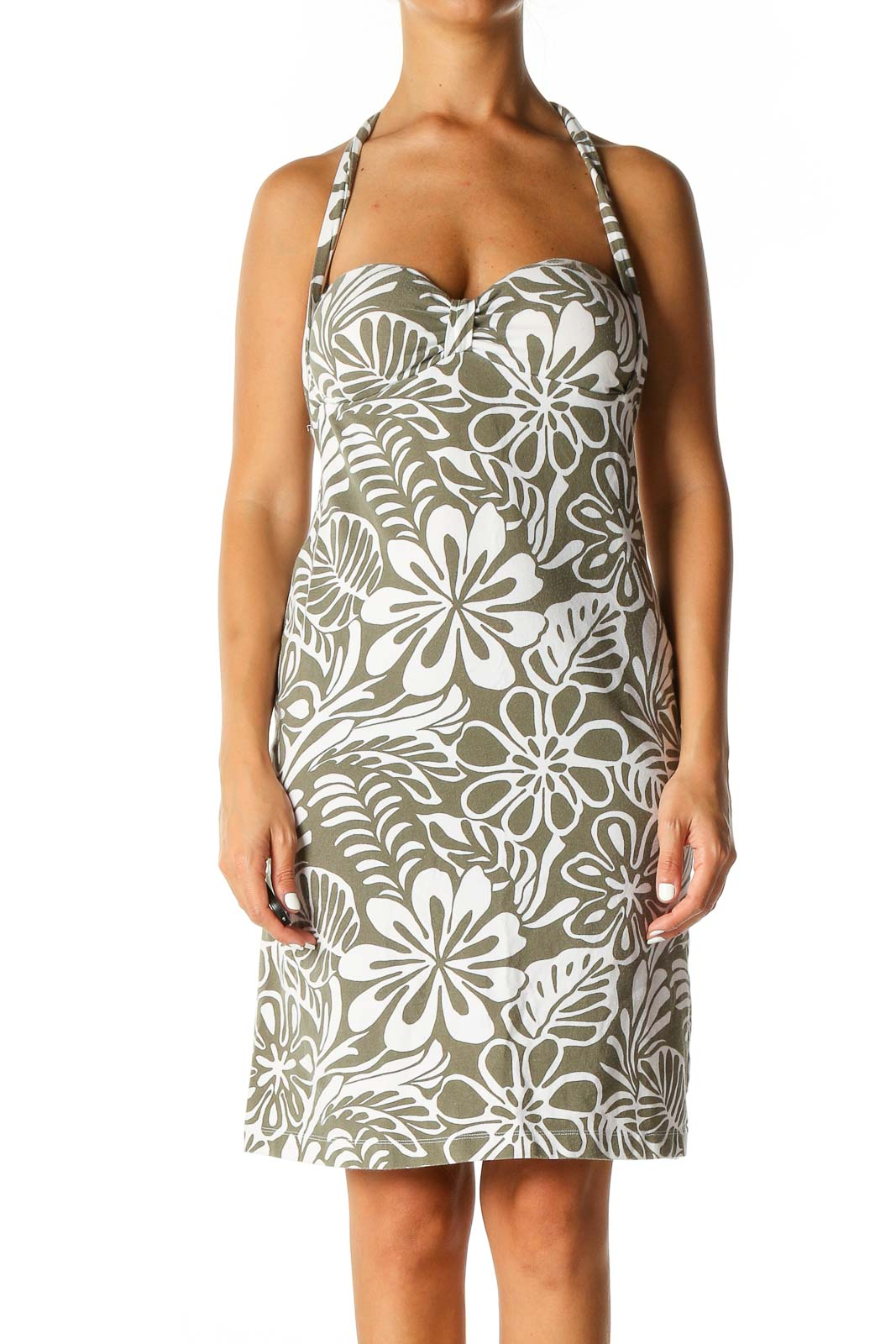 White Tropical Print Holiday Shift Dress Front