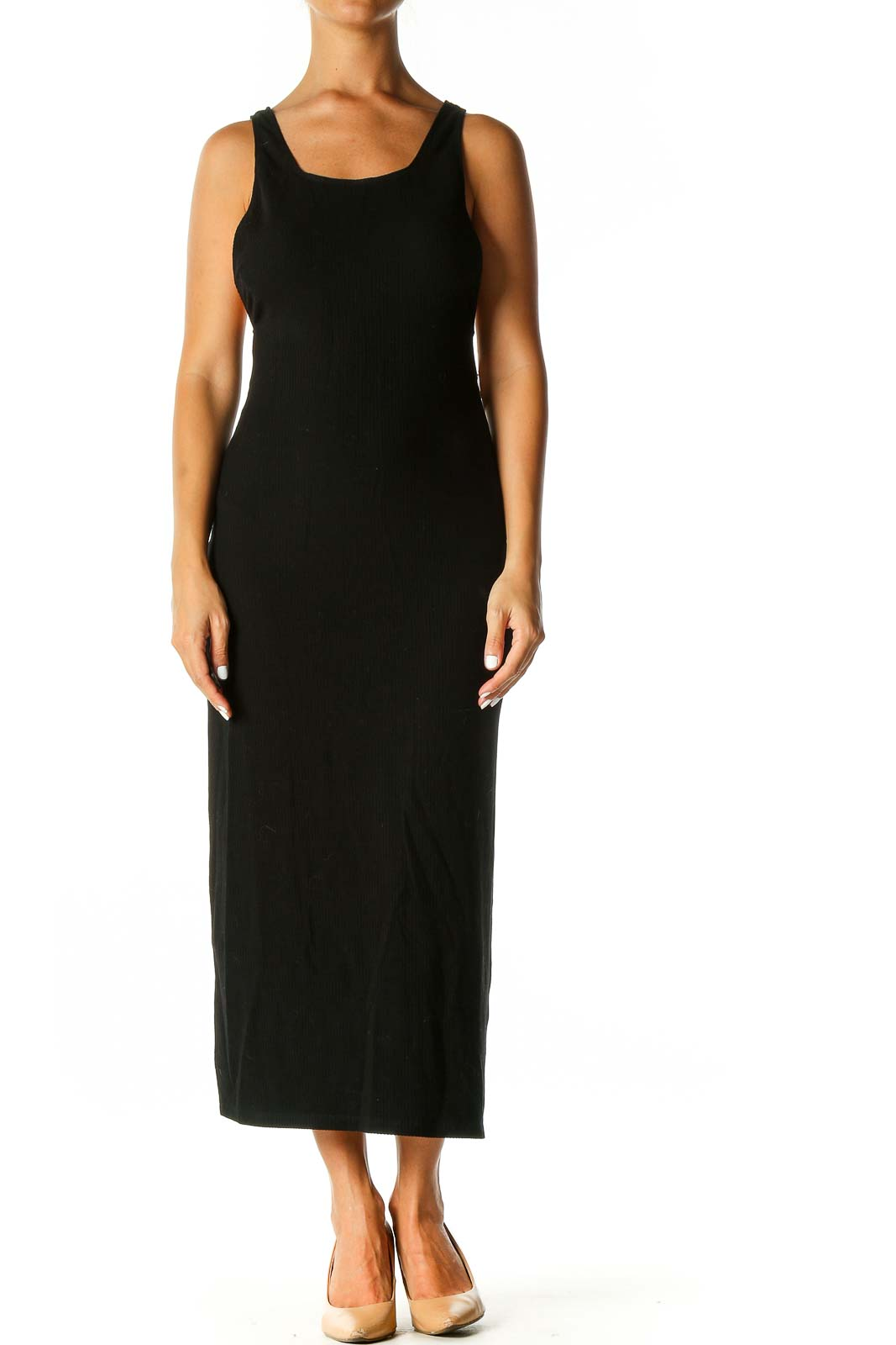 Black Solid Casual Column Dress Front