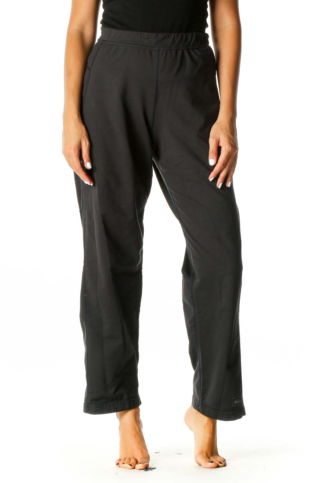 Black Solid Activewear Trousers Front
