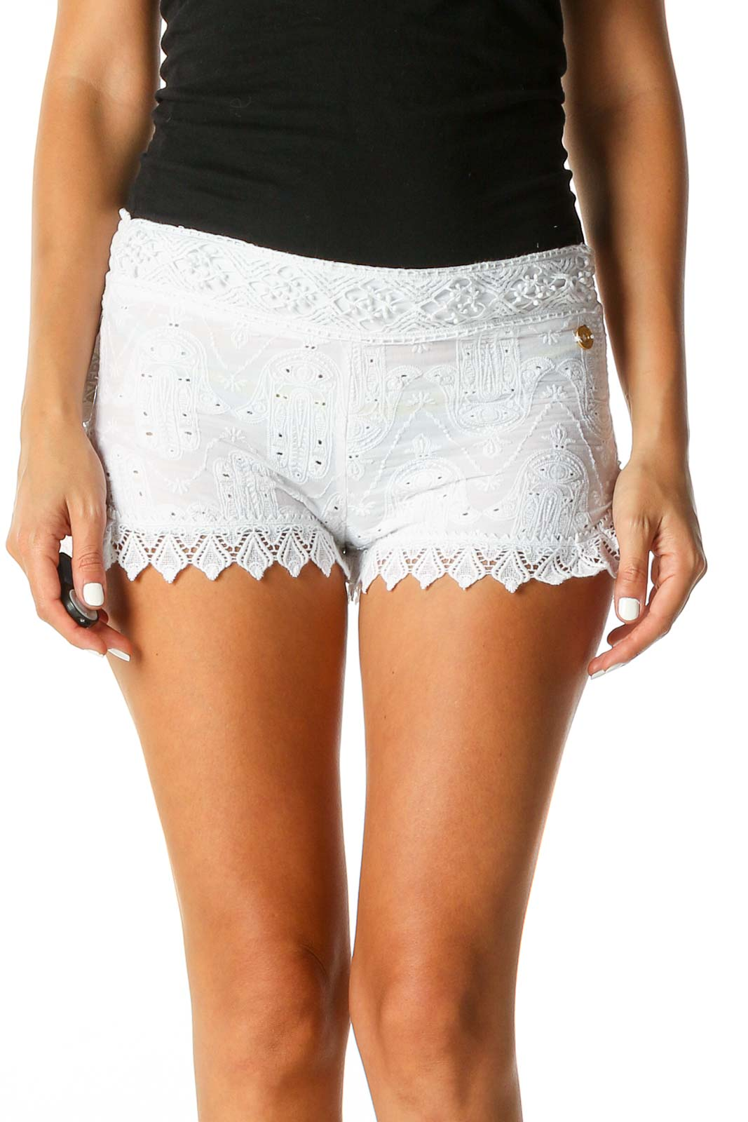 White Textured Casual Shorts Front
