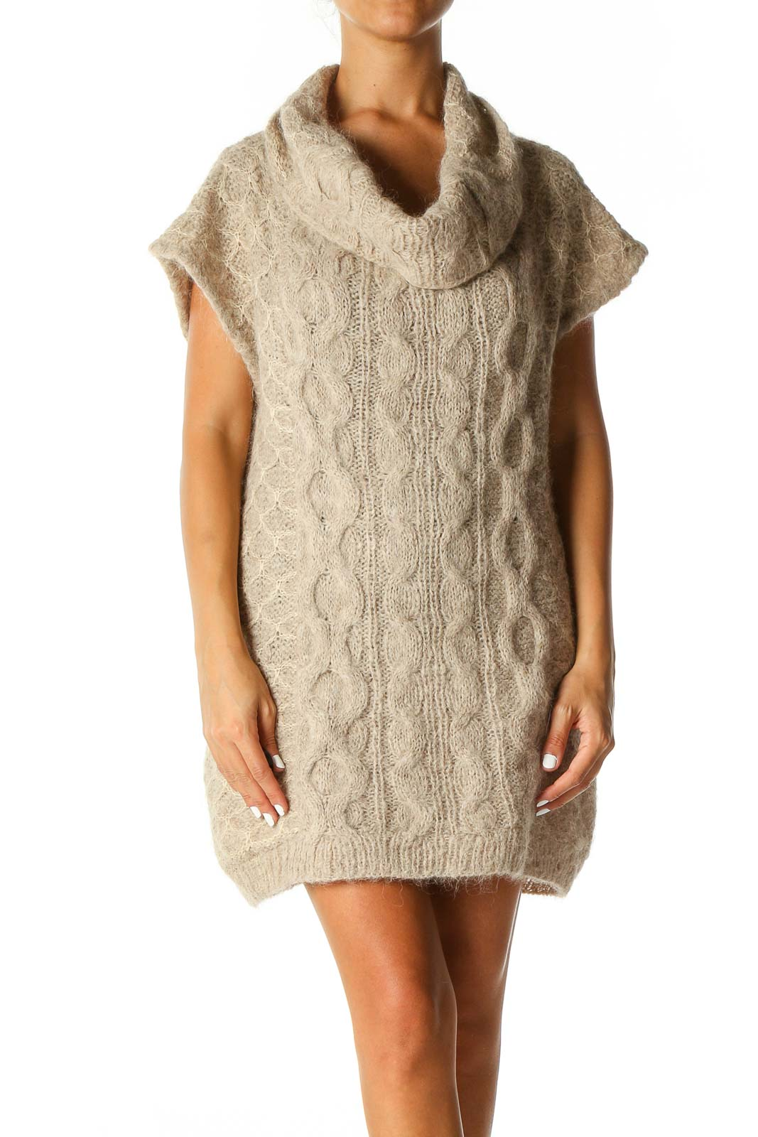 Beige Textured Casual Shift Dress Front