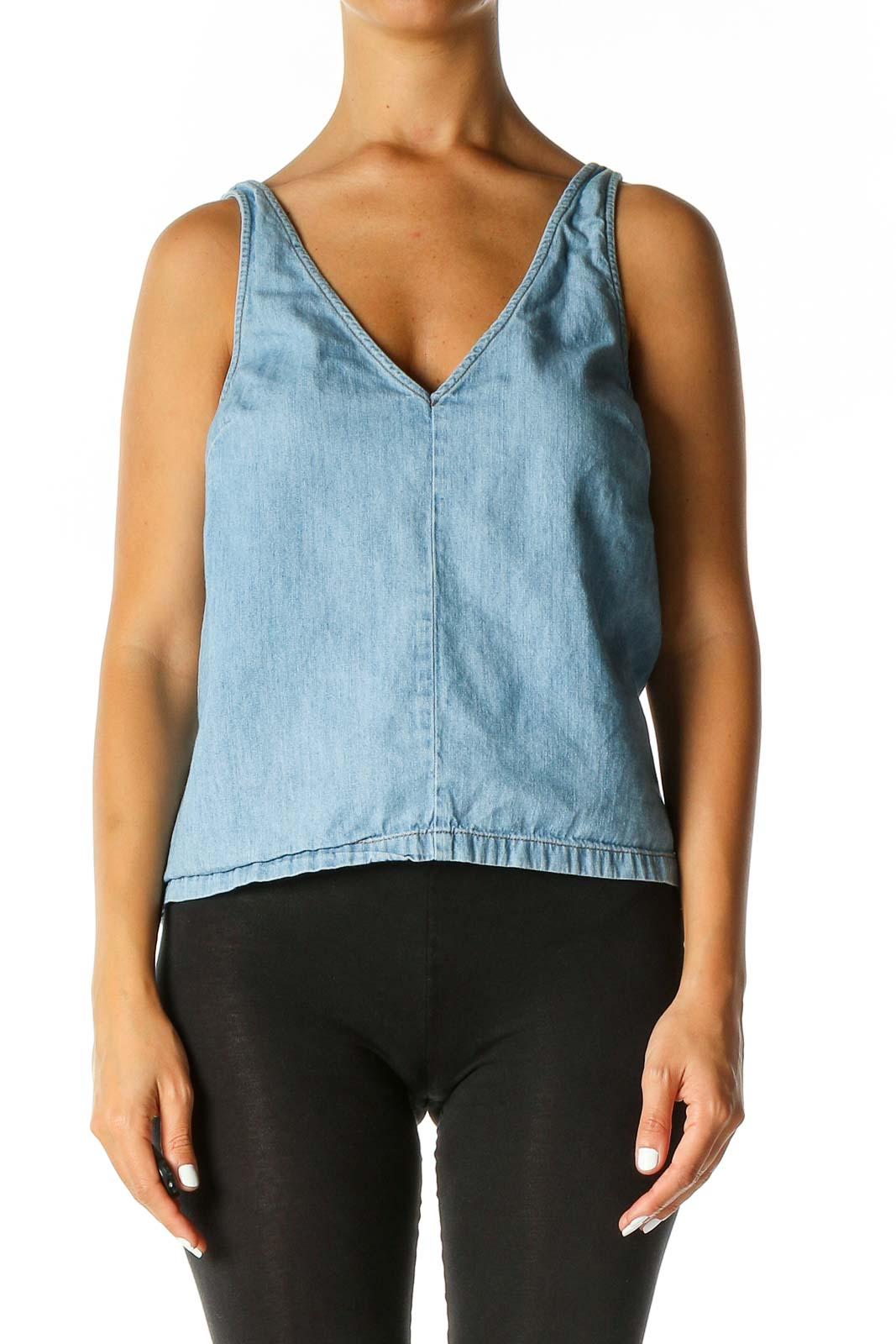 Blue Solid Chic Tank Top Front
