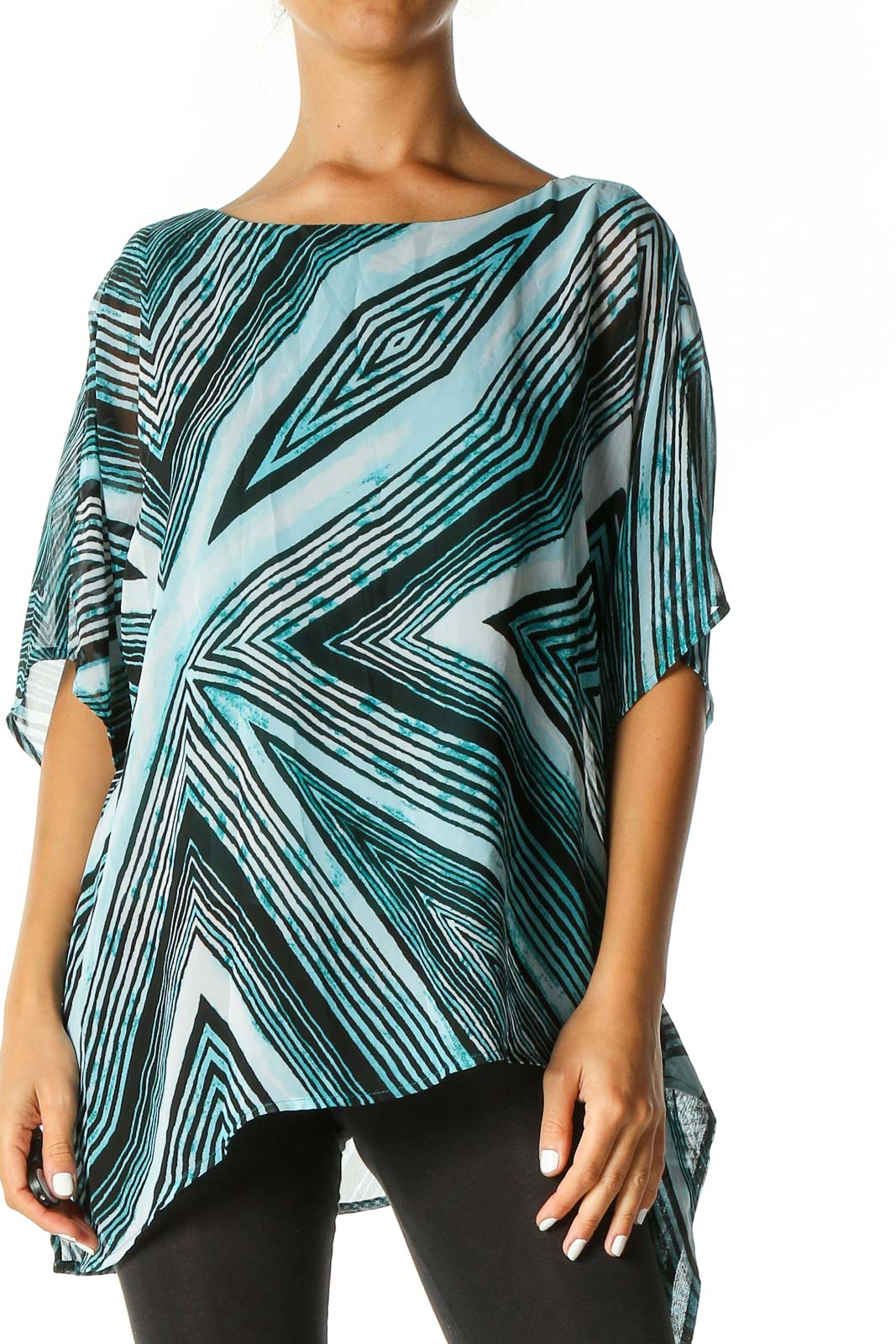 Blue Geometric Print Casual Blouse Front