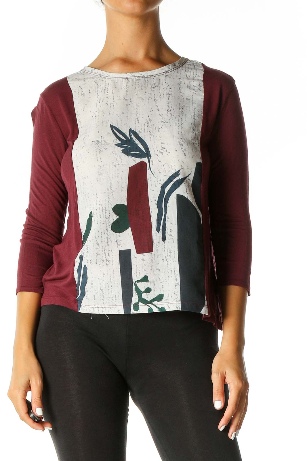 Red Graphic Print Casual Top Front