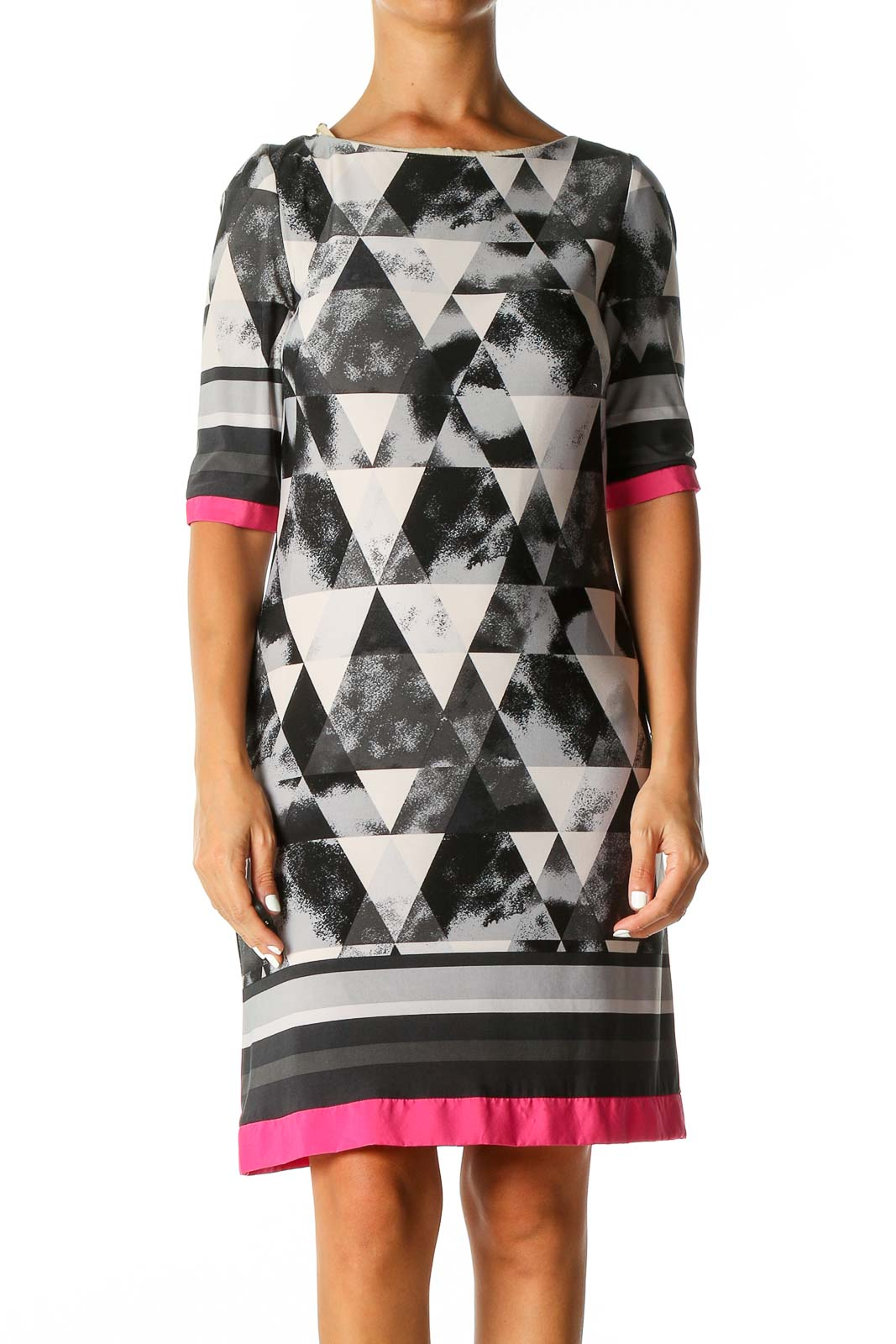 White Geometric Print Casual Shift Dress Front