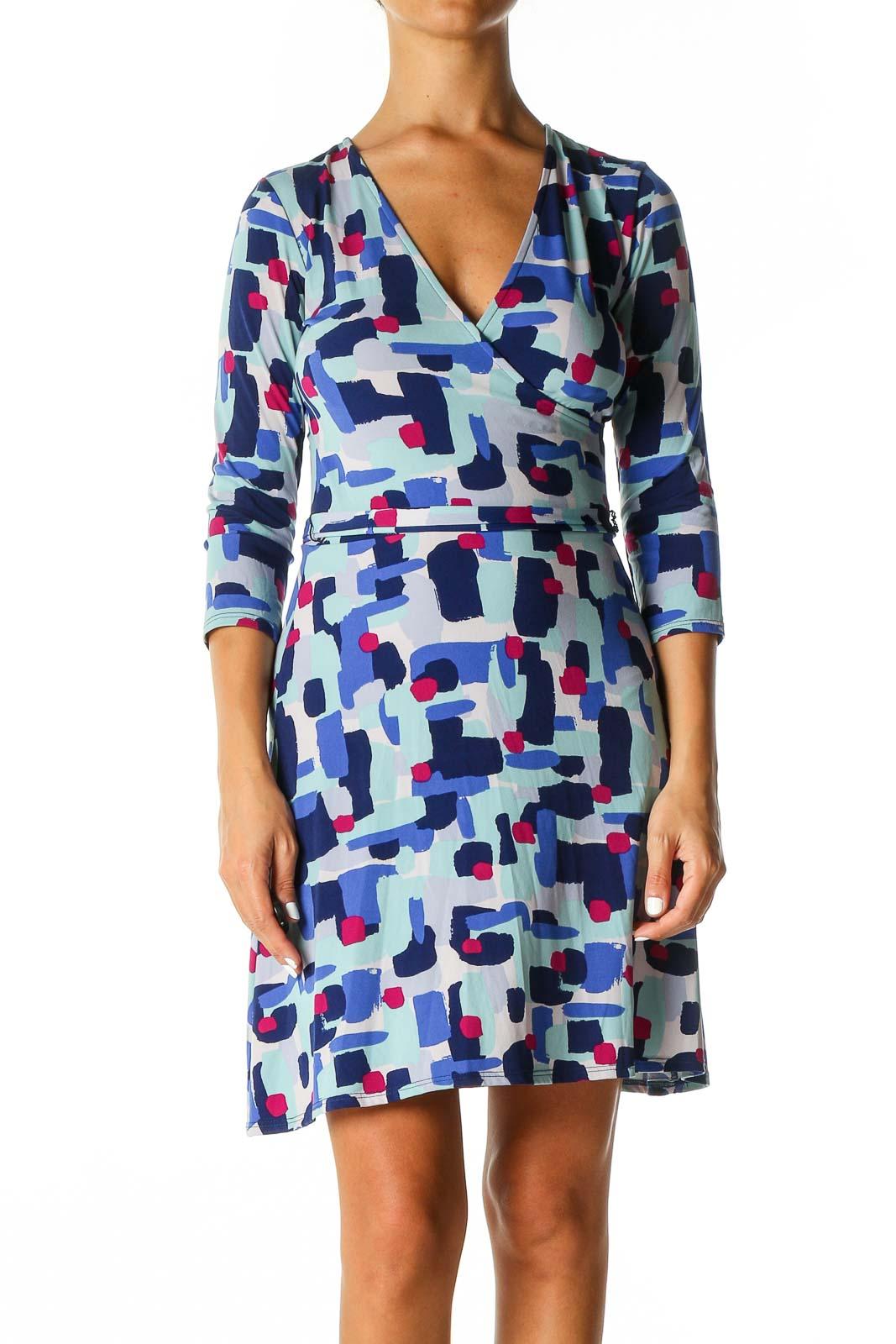 Blue Geometric Print Holiday Shift Dress Front