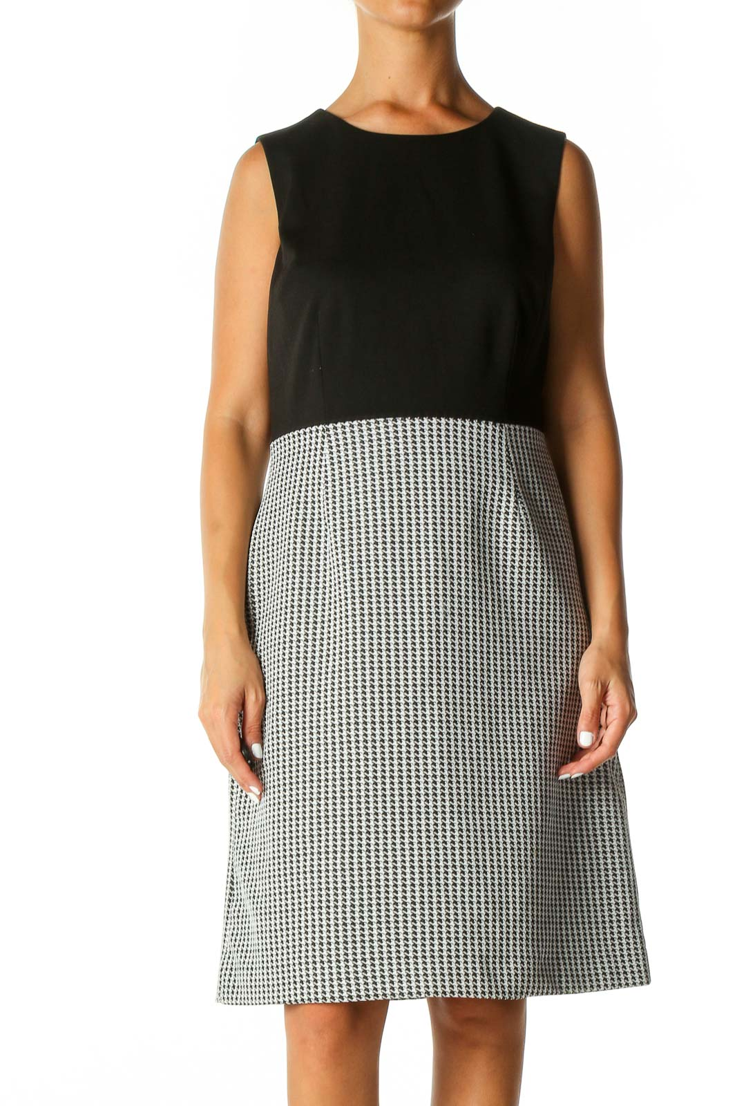 Black Checkered Classic A-Line Dress Front