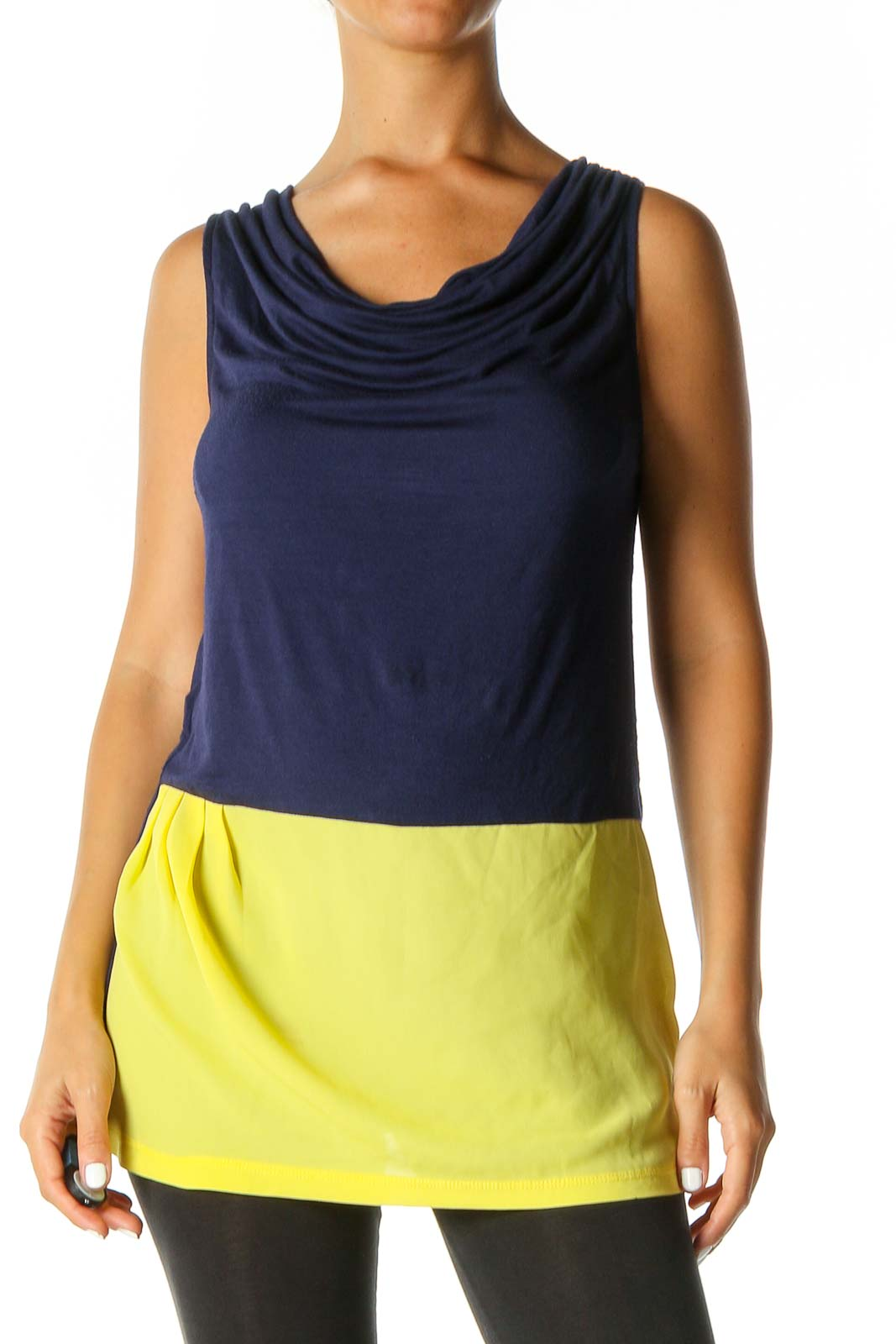 Blue Solid Tank Top Front
