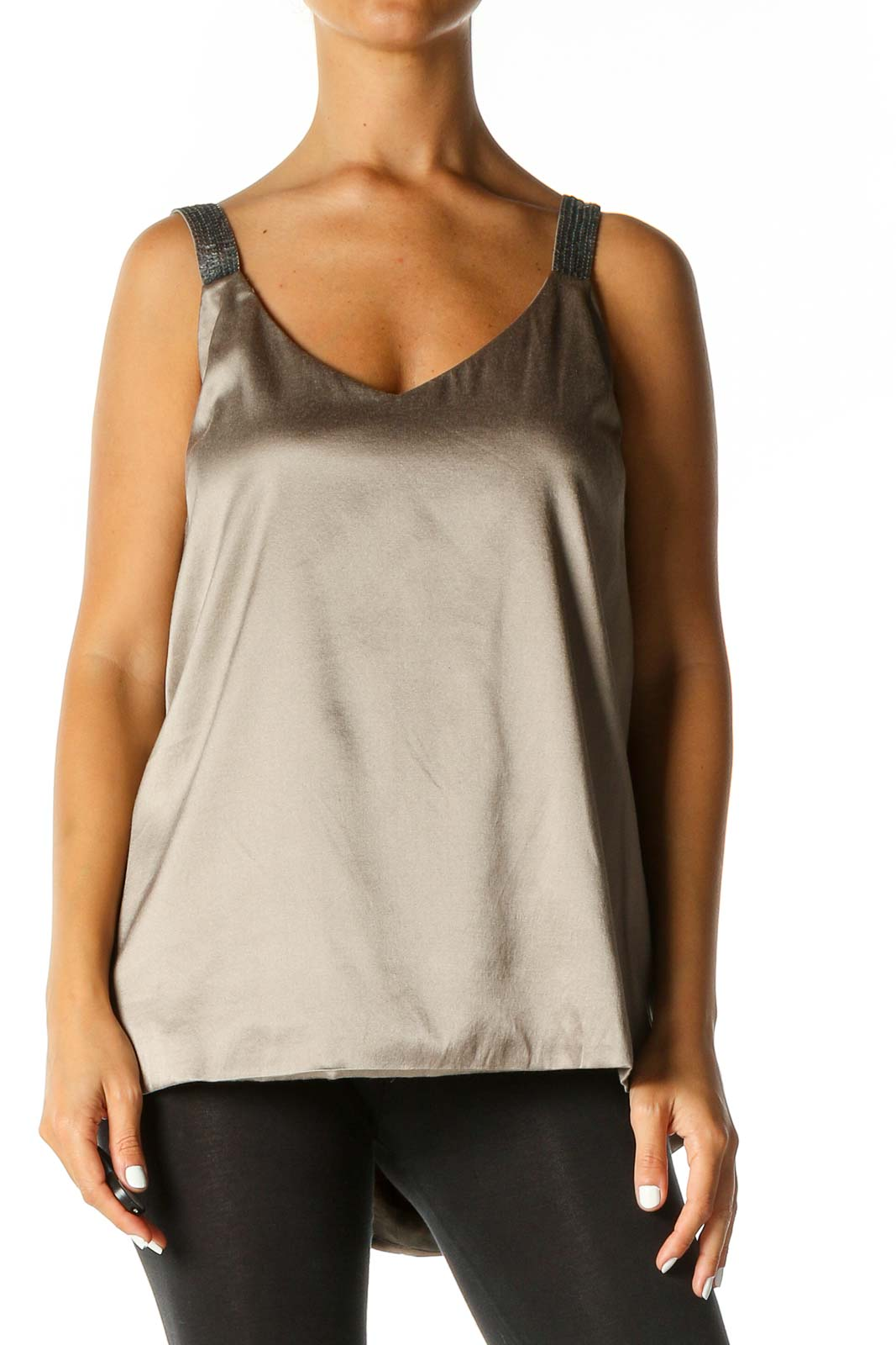 Beige Solid Casual Tank Top Front