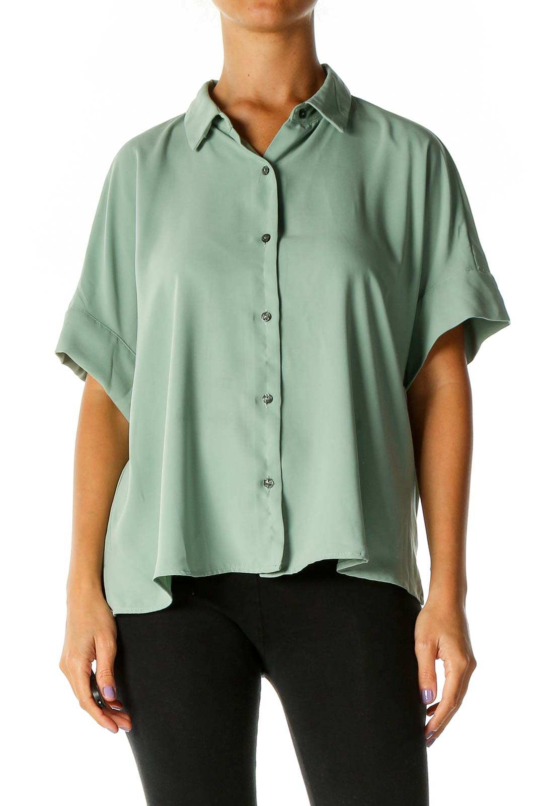 Green Solid Work Shirt Front