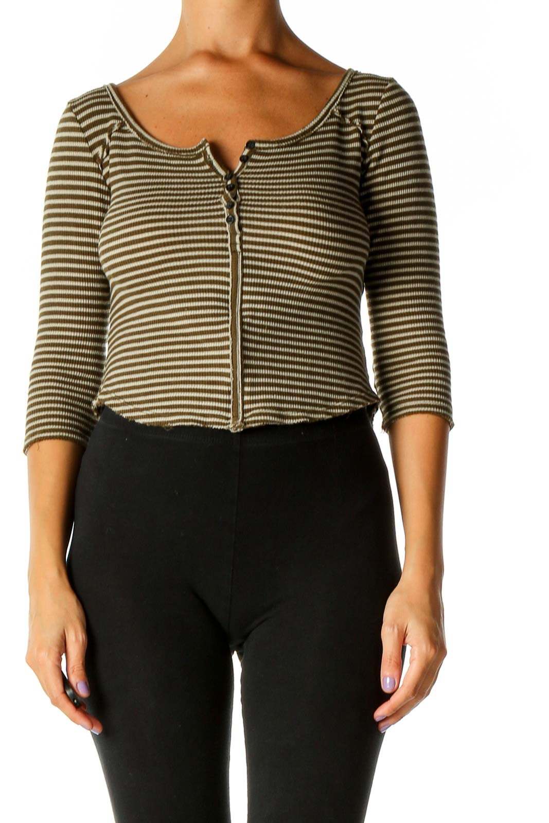 Brown Striped Casual Blouse Front