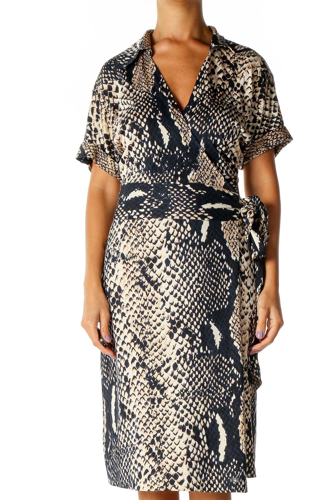 Beige Animal Print Bohemian Sheath Dress Front