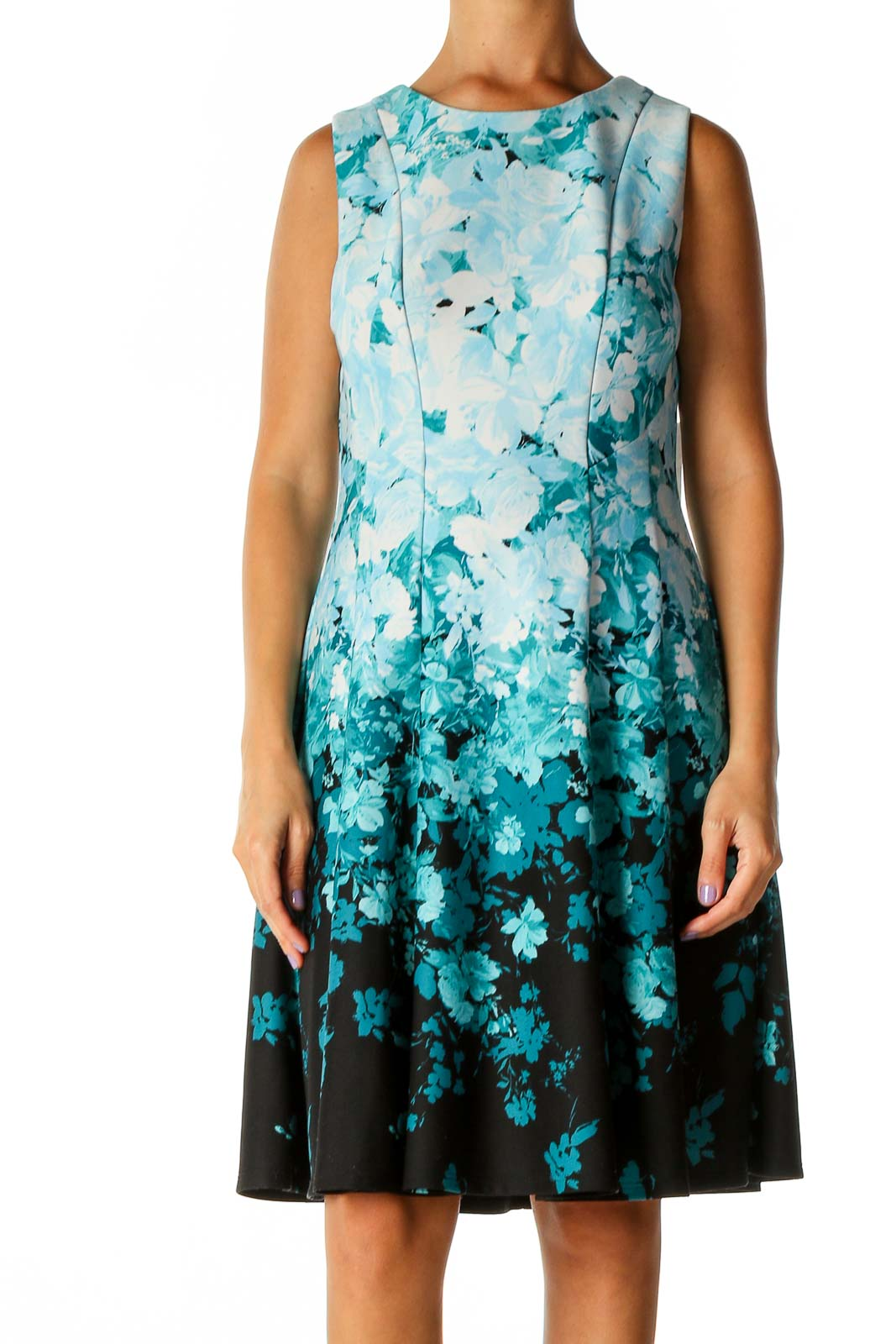 Blue Floral Print Day Fit & Flare Dress Front