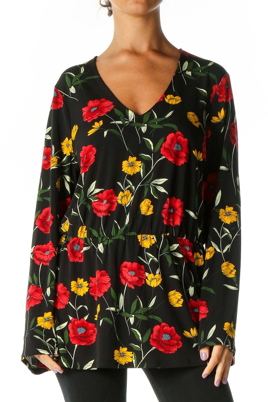 Black Floral Print Retro Blouse Front
