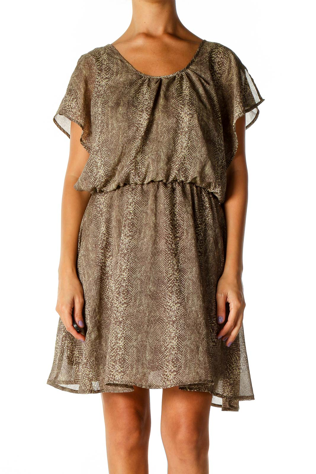 Brown Animal Print Bohemian Fit & Flare Dress Front