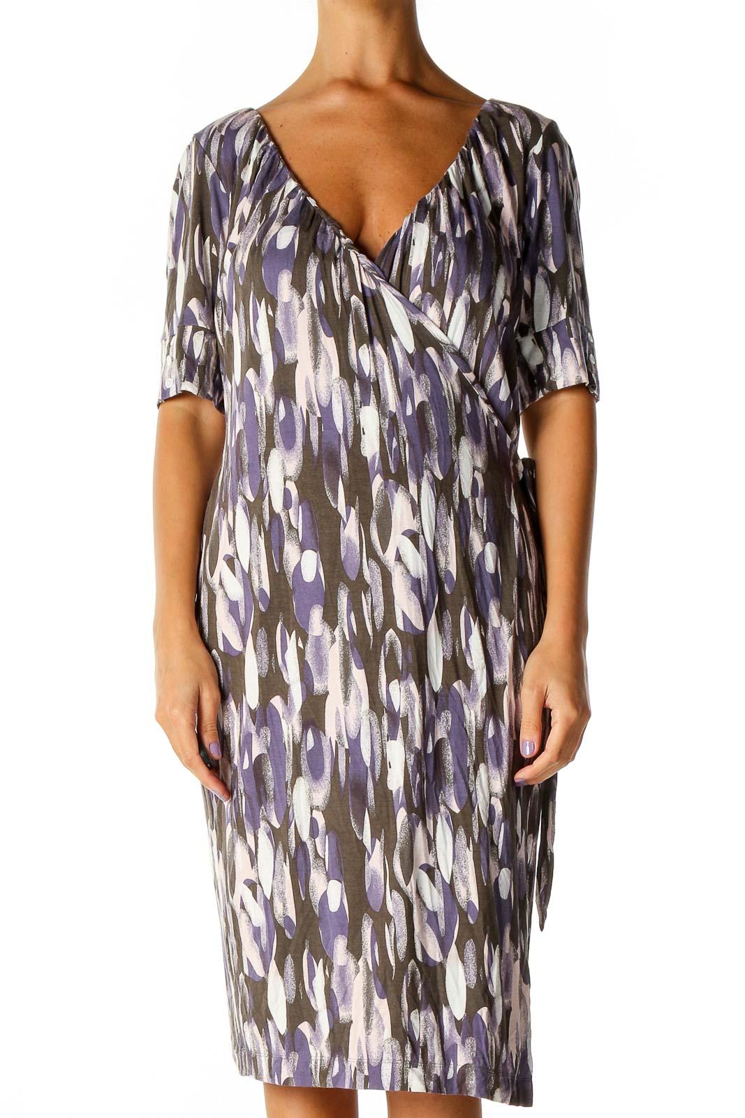 Purple Geometric Print Holiday Sheath Dress Front
