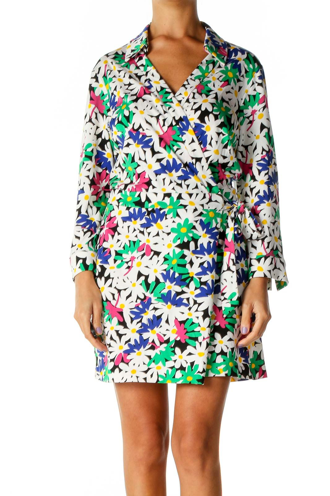 White Floral Print Day Shift Dress Front