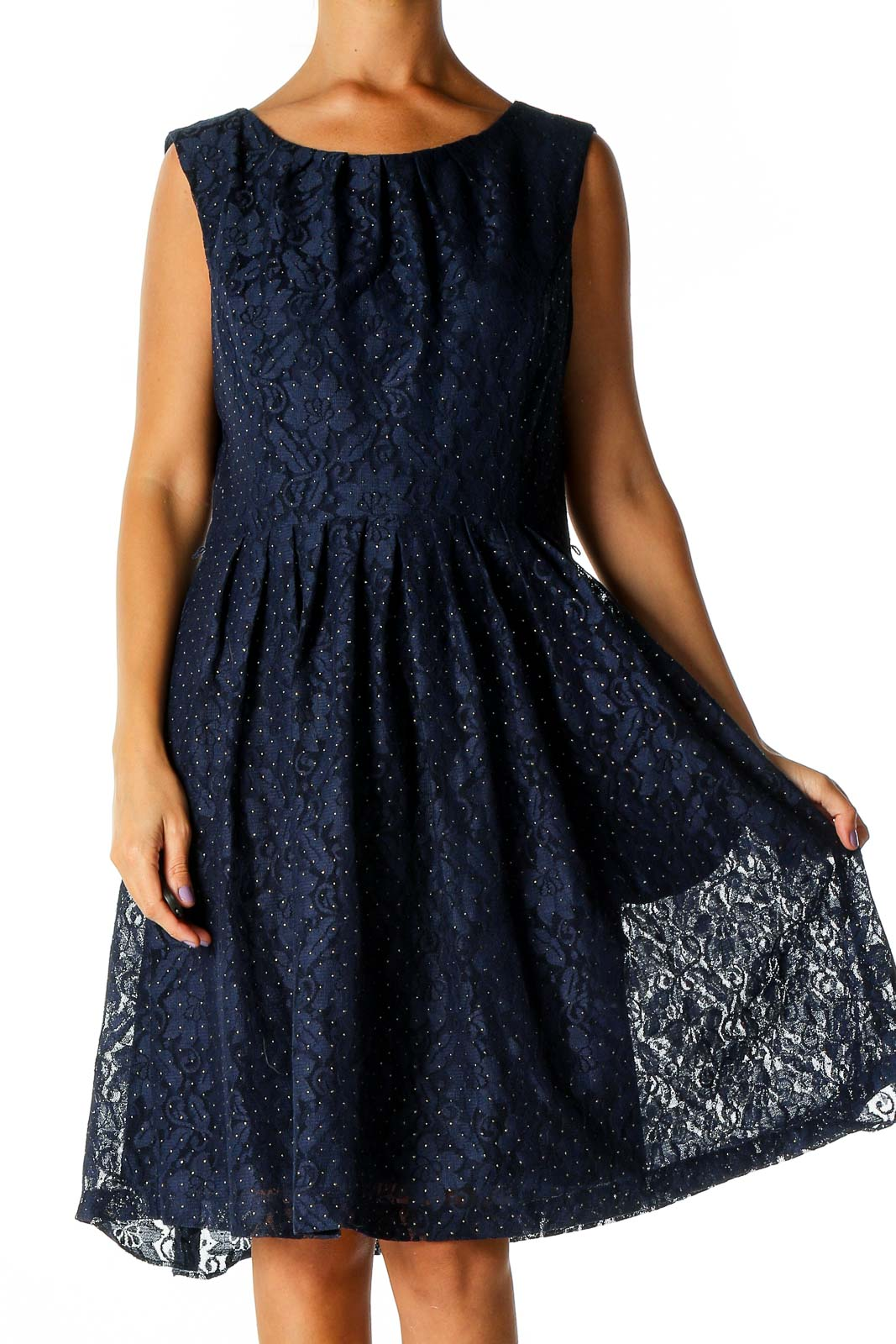Blue Lace Casual Fit & Flare Dress Front