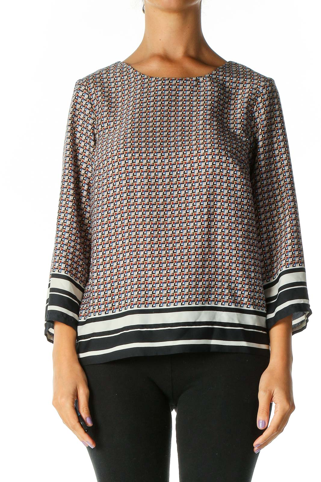 Blue Geometric Print Casual Top Front