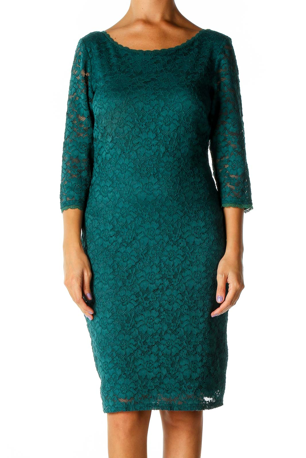 Green Lace Classic Shift Dress Front