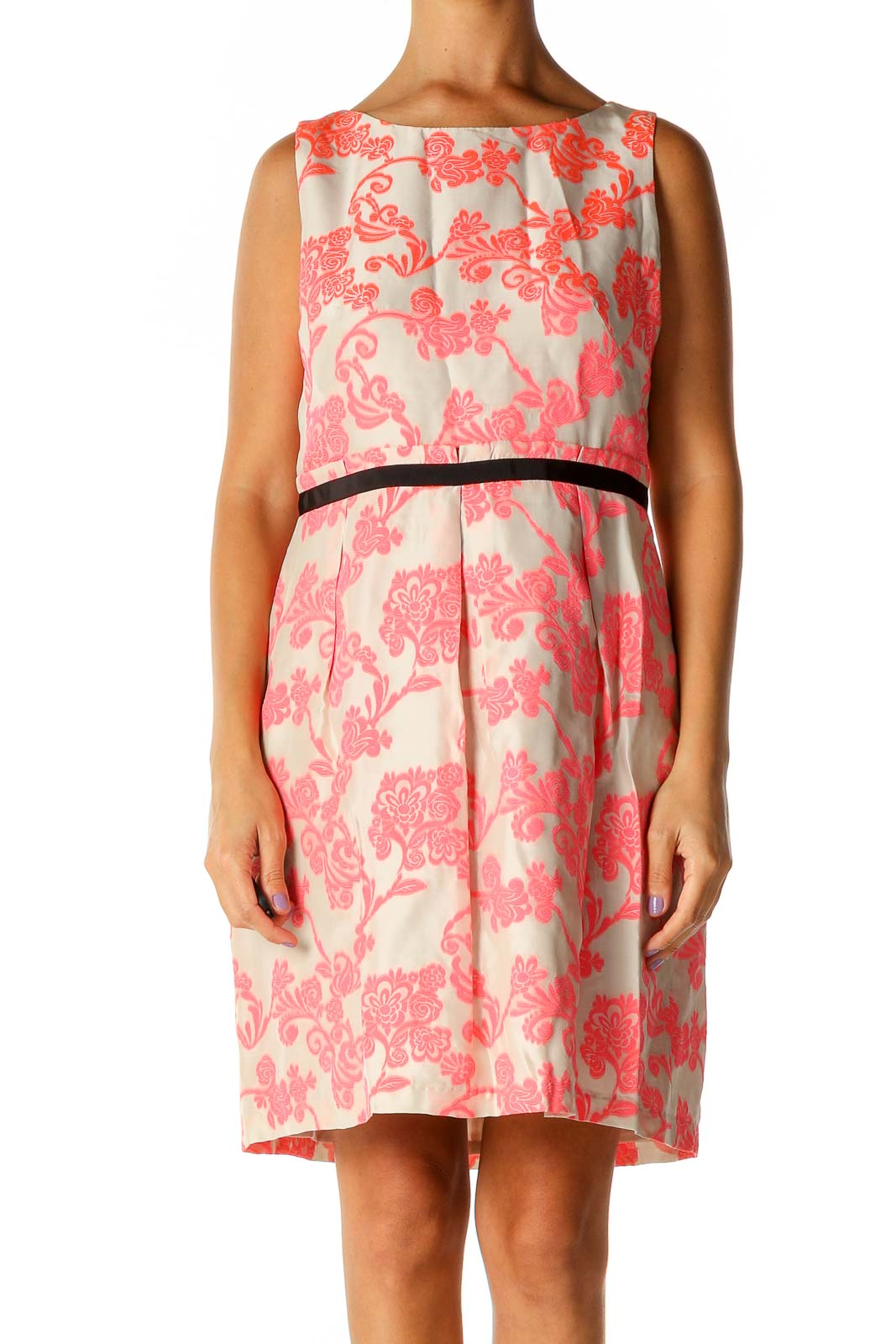 Pink Lace Casual A-Line Dress Front