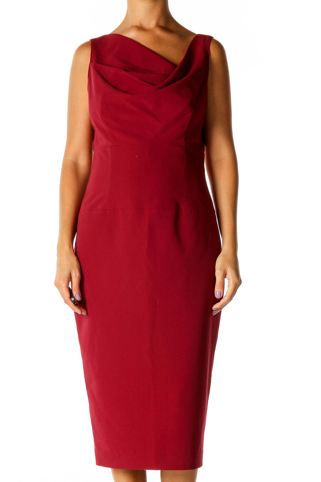 Red Solid Cocktail Sheath Dress Front